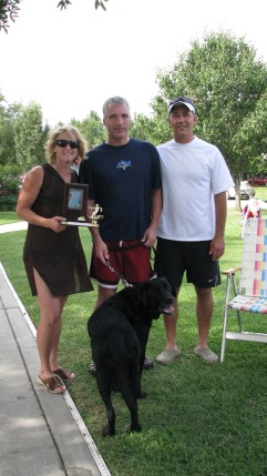 Mike receiving award from Ski Ranch Owners Dave and Claire Di Pol