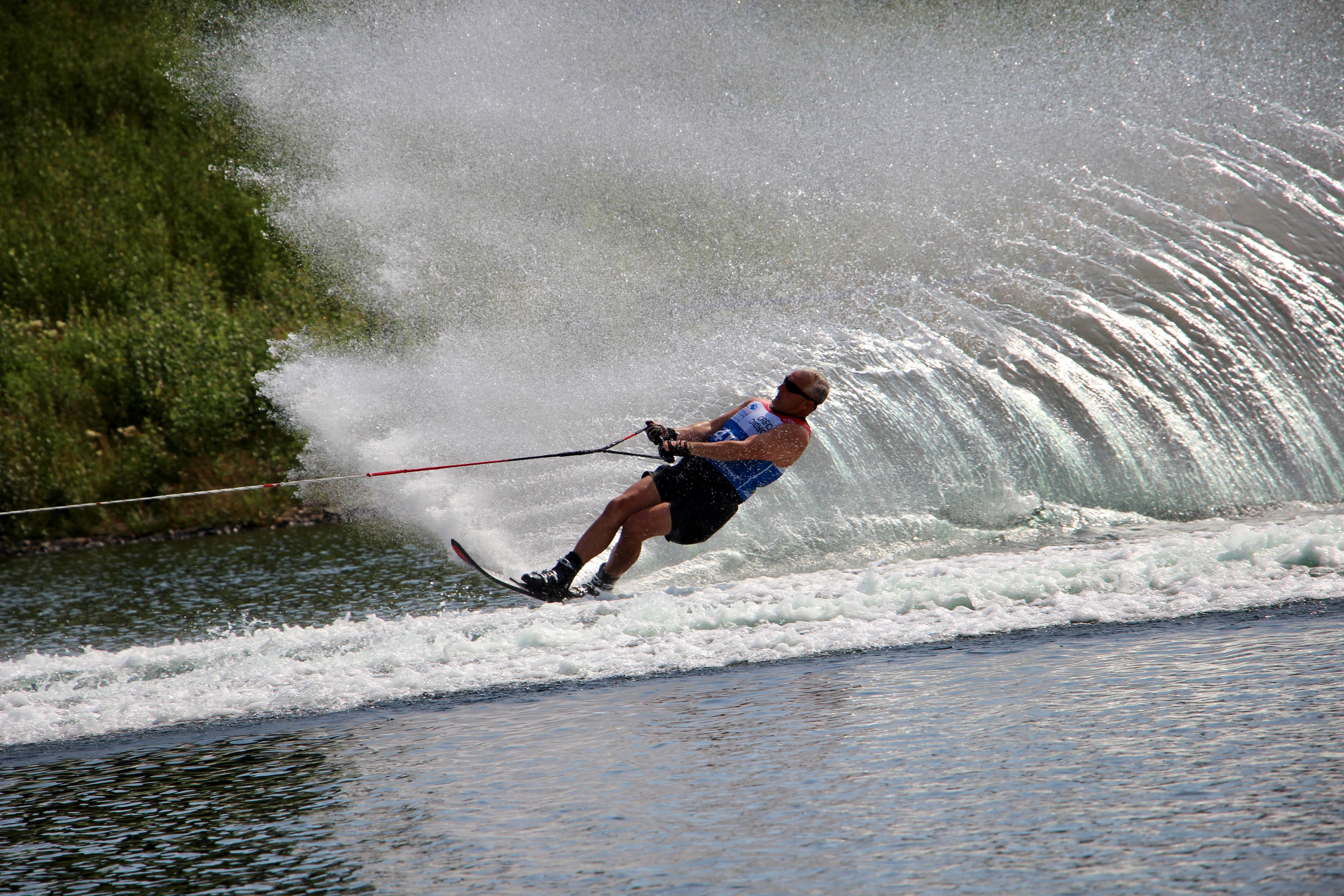 Mike skiing at the 2019 World Disabled Water Ski Championships.